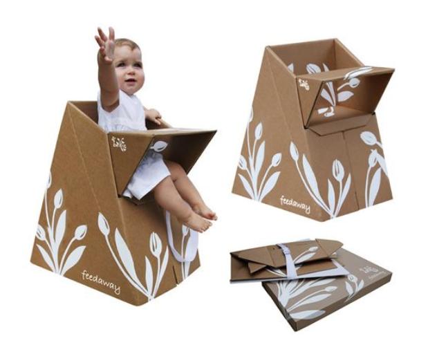 krzesełko do karmienia dzieci z kartonu